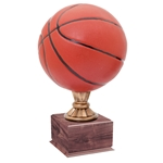 Large Full Size Color Basketball Trophy On Wood Base