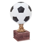 Large Full Size Color Soccer Ball Trophies On Wood Base