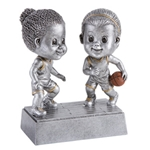 Basketball Female Double Bobblehead Trophy