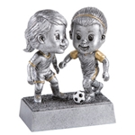 Soccer Female Double Bobblehead Trophy