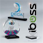 Custom Lasercut Lucite Awards on Black Base