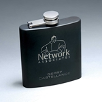 6 oz. Matte Black Stainless Steel Lasered Flask