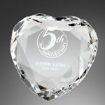 Faceted Crystal Heart Paperweight