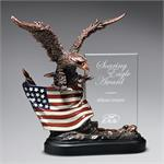 Highflying Bronze Eagle with Flag and Glass Award