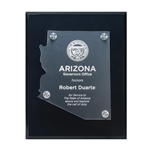 Frosted Acrylic State Cutout on Black Plaque