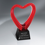 Red Heart Glass Award Trophy