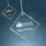 Custom Glass Square Holiday Ornament