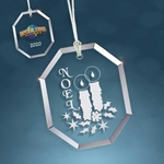 Custom Glass Octagon Holiday Ornament