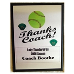 Softball Thanks Coach Plaques
