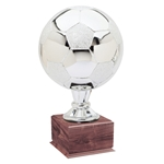 Large Full Size Silver Soccer Ball Trophies On Wood Base
