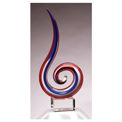 Red & Blue Glass Art Trophies