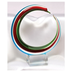 Red, Green, & Blue Glass Art Trophies