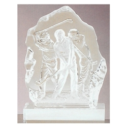 Three Golfers Sculpted Glass Awards