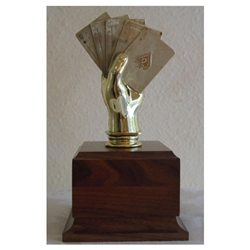 Poker Hand on Wood Base Trophy
