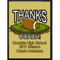 Thanks Coach Football Plaques