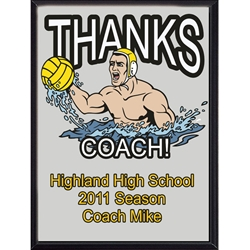 Thanks Coach Water Polo Plaques