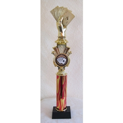 "17"" Poker Red Flame Triumph Column Trophies"