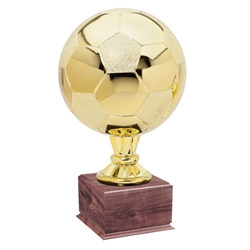 Large Full Size Gold Soccer Ball Trophies On Wood Base