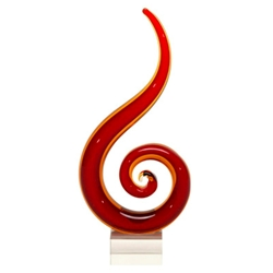 Red Fire Glass Art Sculptures