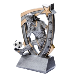 3D Star Female Soccer Resin Trophies