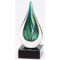 Green Teardrop Glass Art Trophies