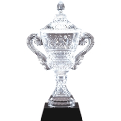 Intricate Crystal Trophy Cups on Black Crystal Base