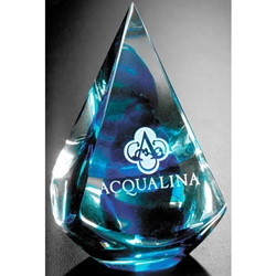 Blue Quatro Pyramid Glass Art Awards