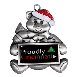 Silver Bear Custom Holiday Ornament