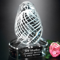 White Swirl on Clear Base Glass Art Trophies