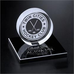 Crystal Hockey Puck on Black Glass Base