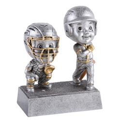 Baseball/Softball Double Bobblehead Trophy with Face