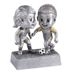 Soccer Female Double Bobblehead Trophy with Face