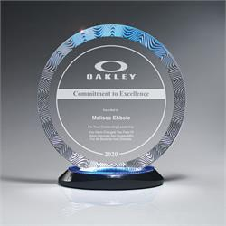 Aqua Wave Circle Award on Ebony Lucite Oval Base Large