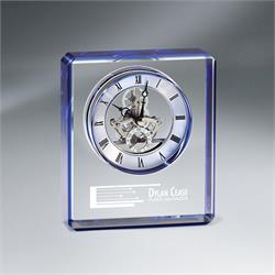 Blue Edge Crystal Skeleton Clock
