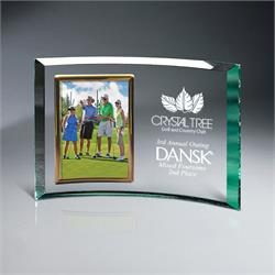 Jade Glass Crescent Award with Picture Frame