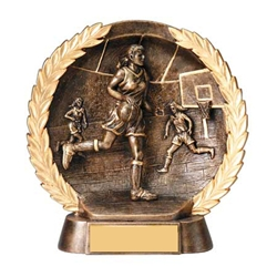 "7.5"" Female Basketball Round Resin Plate Trophy"