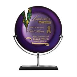 Venus Amythyst Art Glass Award Trophy